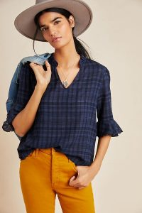 DOLAN Collection Tandy Ruffled Top in Navy