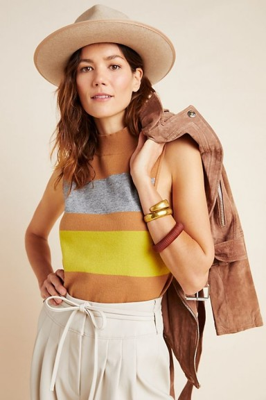 Anthropologie Suzy Mock Neck Knitted Tank Top in Honey