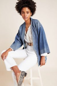 Pilcro Denim Kimono Jacket in Medium Blue