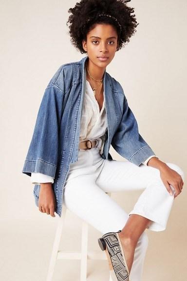 Pilcro Denim Kimono Jacket in Medium Blue - flipped