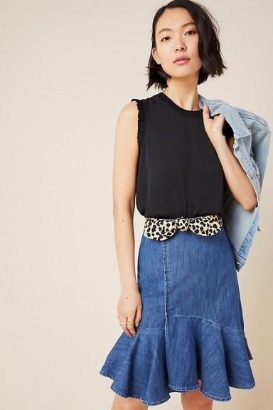 Pilcro Flounced Denim Mini Skirt   ruffle hem skirts - flipped