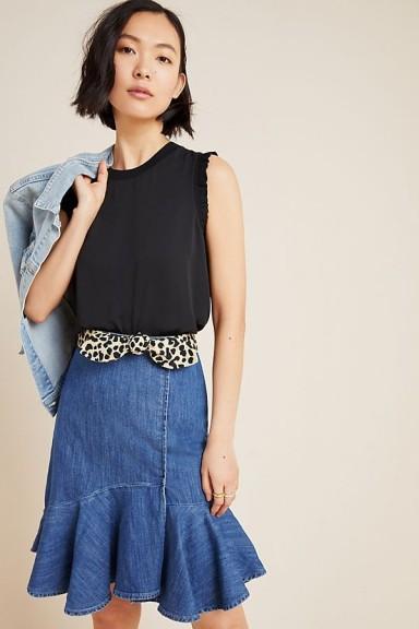 Pilcro Flounced Denim Mini Skirt | ruffle hem skirts