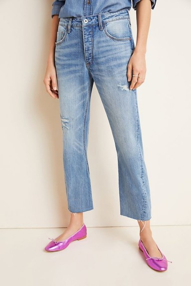 Pilcro Ultra High-Rise Twist-Seam Slim Boyfriend Jeans   twisted seams   distressed details