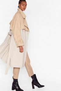 Nasty Gal Back to Mac Oversized Trench Coat in stone