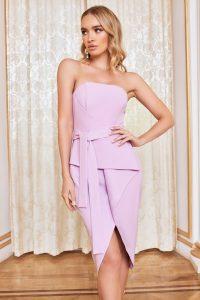 LAVISH ALICE bandeau origami midi dress in pastel purple – fold detail party dresses