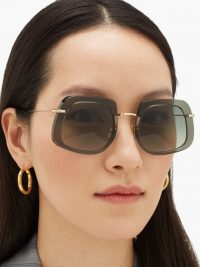 KALEOS Barton square acetate sunglasses – square frames – green gradient lenses