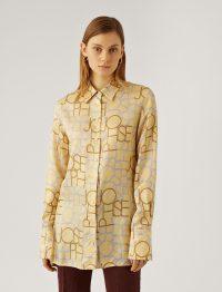 Joseph Beatrice Viscose Small Logo Blouse in Banana | printed blouses