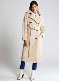 MINT VELVET Beige Pleat Sleeve Trench Coat