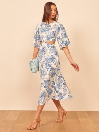 REFORMATION Benny Dress in Olympia / side cut-out dresses