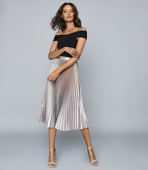 REISS BETTY PLEATED METALLIC MIDI SKIRT PINK