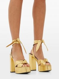SAINT LAURENT Bianca metallic-leather platform sandalsin gold | 70s look shoes