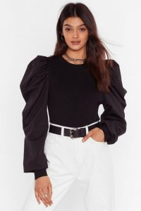NASTY GAL Big Be-sleever Puff Sleeve Sweater in Black