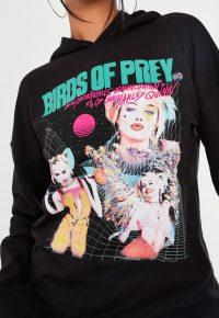 birds of prey @ missguided black harley quinn graphic oversized hoodie