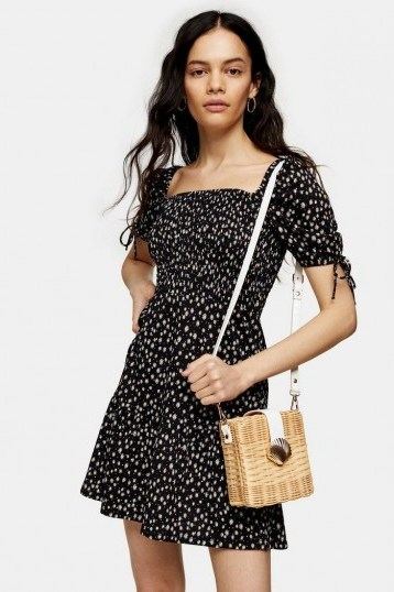TOPSHOP Black And White Shirred Tea Dress / ditsy prints - flipped