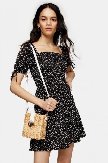 TOPSHOP Black And White Shirred Tea Dress / ditsy prints