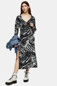 TOPSHOP Black And White Zebra Ruched Sleeve Midi Dress / monochrome dresses