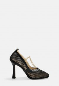 MISSGUIDED black fishnet square toe chain detail heels
