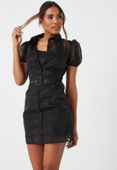 MISSGUIDED black organza belted puff sleeve shirt dress – lbd