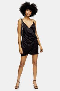 Topshop Black Satin Wrap Mini Slip Dress | strappy LBD