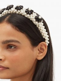 SHRIMPS Blaze faux-pearl embellished headband in white | monochrome heafbands
