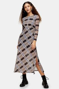 TOPSHOP Blue And Stone Check Mesh Midi Dress