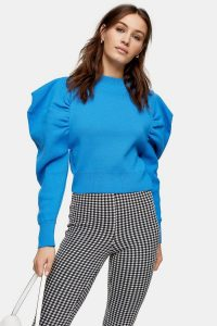 Topshop Blue Exaggerated Sleeve Knitted Sweatshirt
