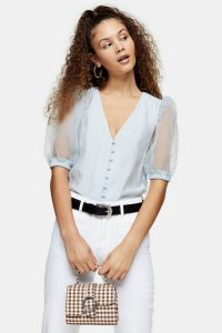 TOPSHOP Blue Organza Sleeve Button Through Blouse