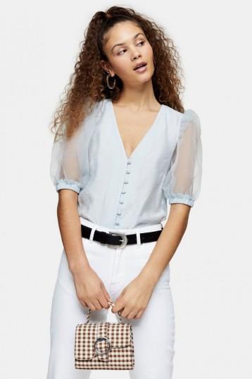 TOPSHOP Blue Organza Sleeve Button Through Blouse