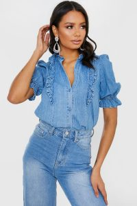 IN THE STYLE BLUE WASH DENIM FRILL DETAIL SHIRT