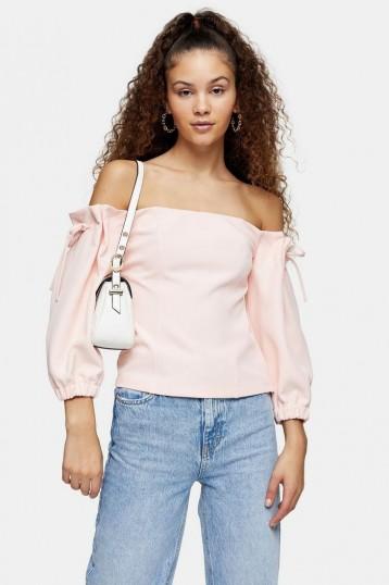 TOPSHOP Blush Pink Tie Shoulder Crepe Bardot Blouse