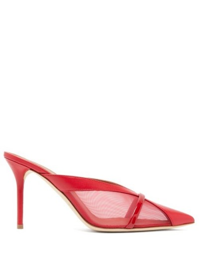 MALONE SOULIERS Bobbi panelled-mesh red-leather mules