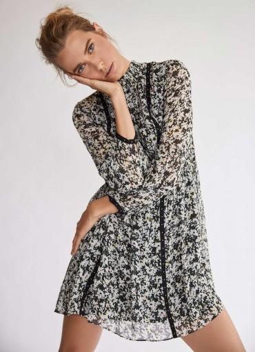 MINT VELVET Bonnie High Neck Mini Dress / abstract florals