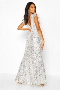 Boohoo Occasion Extreme Sequin Low Back Maxi in silver