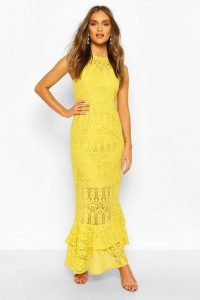 Boohoo Occasion Lace High Neck Maxi Dress in Mustard – yellow sheer panel dresses