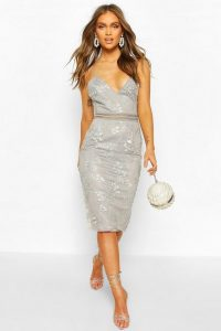 Boohoo Occasion Sequin Floral Midi Dress in Grey – strappy plunge front dresses