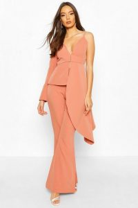 Boohoo Occasion Waterfall One Shoulder Blazer Apricot