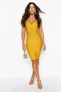 Boohoo Boutique Bandage Tie Detail Mini Dress Mustard