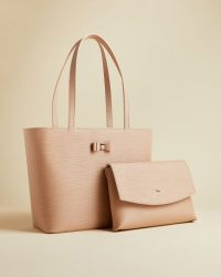 TED BAKER DEANNAH Bow detail shopper in taupe / luxury shoppers