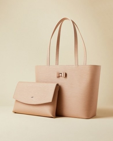 TED BAKER DEANNAH Bow detail shopper in taupe / luxury shoppers - flipped