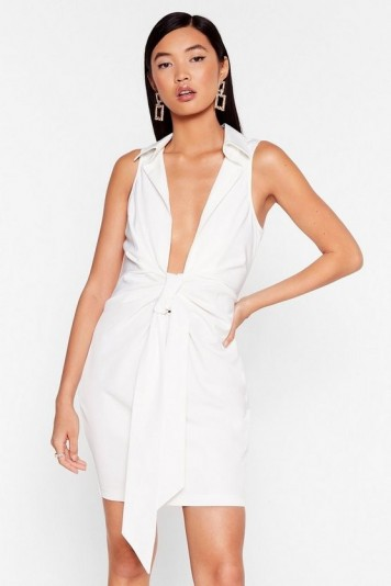 NASTY GAL Bow for It Plunging Mini Dress in Ivory – deep V-front evening dresses