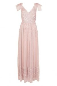 boohoo Bridesmaid Bow Strap Hand Embellished Maxi in pale pink – sequinned bridesmaids dress