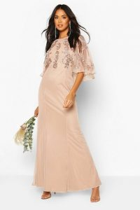 Bridesmaid Hand Embellished Cape Maxi Dress in blush
