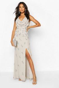 boohoo Bridesmaid Hand Embellished Cowl Detail Maxi Dress in grey