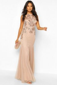 boohoo Bridesmaid Hand Embellished Halter Maxi Dress in blush – halterneck bridesmaids dresses – sequin embellishments