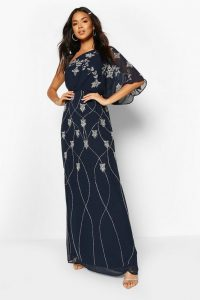 boohoo Bridesmaid Hand Embellished One Shoulder Cape Maxi in navy – dark blue sequinned bridesmaids dresses
