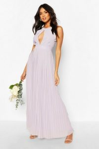boohoo Bridesmaid Occasion Pleated Panel Detail Maxi Dress in Grey – keyhole front bridesmaids dresses