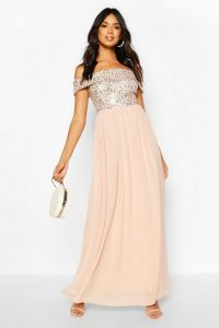 boohoo Bridesmaid Occasion Sequin Bardot Maxi Dress in Blush – pink sequinned bridesmaid dresses