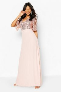 boohoo Bridesmaid Occasion Sequin Bodice Angel Maxi Dress – long sequinned bridesmaids dresses