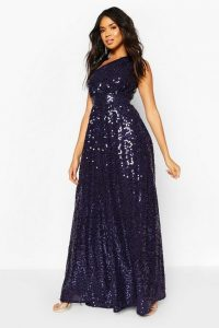 boohoo Bridesmaid Occasion Shoulder Sequin Maxi Dress in Navy