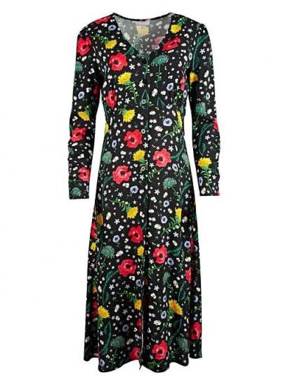 OLIVER BONAS Bright Black Floral Print Midi Dress